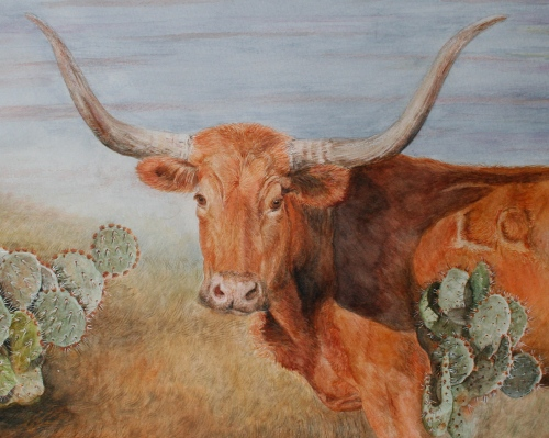 watercolor-longhorn-painting-with-cactus